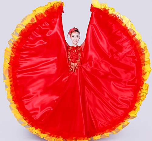 SMACO Spanisch Flamenco Röcke Frauen Flamenco Dance Kostüme Gypsy Rock Damen Gesellschaftstanz Kleid Bühnenshow Wear Kleidung,C,XXXL (Gypsy Kostüm Frauen)