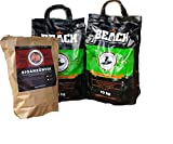 BlackSellig 20 Kg Beach Kokos Grill Briketts + 50 Stück Anzünder perfekte Profiqualität