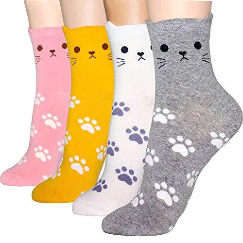 OKIE OKIE - Calcetines de regalo para mujer Animal - Cat Foot Print 4pcs Talla única