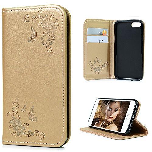 iPhone 7 Custodia Flip,YOKIRIN Custodia Libro per iPhone 7 Case Cover PU Leather con il Supporto,Adsorbimento Automatico Magnetica e Slot per Schede / Tasche per Carte di Credito - Disegno Farfalla (Dorato)