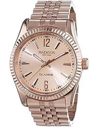 MADISON NEW YORK Unisex-Armbanduhr GLAMOR Analog Quarz Edelstahl beschichtet L4791E2