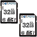 Dot.Foto 32Gb SDHC Alta Velocidad 80MB/s Clase 10 UHS-1 Tarjeta de Memoria (Pack de 2) para Fujifilm FinePix AX/C cámaras [Vea compatibilidad en la descripción]