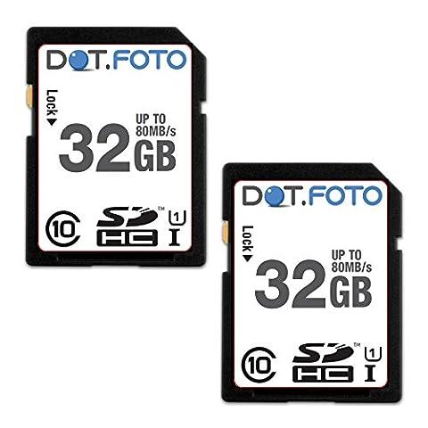 2 x Dot.Foto - 32 Go Carte mémoire SDHC Classe 10 UHS-1 - 80Mo/sec pour Olympus E-5, E-P2, E-P3, E-P5, E-PL1, E-PL2, E-PL3, E-PL5, E-PL6, E-PL7, E-PM1, E-PM2, OM-D E-M1, OM-D E-M5, OM-D E-M5 II, OM-D E-M10