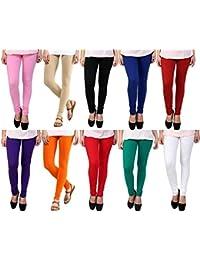 OMIKKA New Women's Cotton Lycra 4 Way Strechable Churidar Leggings Pack Of 10 (Free Size)