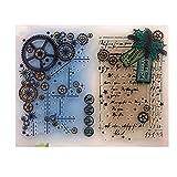 ECMQS Gear DIY Transparente Briefmarke, Silikon Stempel Set, Clear Stamps, Schneiden Schablonen, Bastelei Scrapbooking-Werkzeug