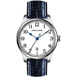 Marc & Sons Marine Automatic Men's Watch White Blue Date Miyota 9015-ref MSM 008