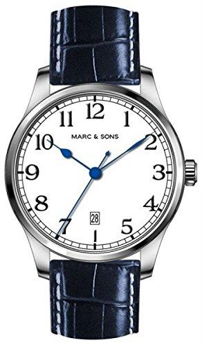 MARC & SONS Marine Automatik Herrenuhr weiß blau Datum, Miyota 9015 - Referenz MSM-008