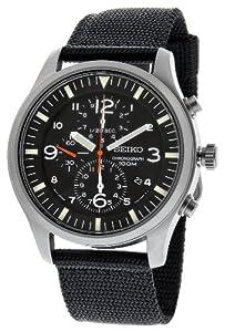 SEIKO Reloj de caballero de cuarzo, correa de textil color negro (con cronómetro) de Seiko