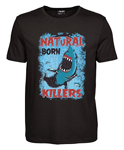 makato Herren T-Shirt Luxury Tee mit Motiv Natural Born Killer Schwarz Black M (Killer M)