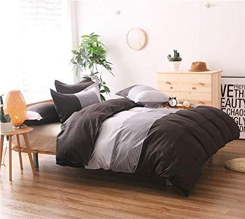 Bettbezug Set grau braun und weiß Streifen Muster Ultra Weich Atmungsaktiv extrem strapazierfähig Mikrofaser Art Deco King Gray, Brown, White -