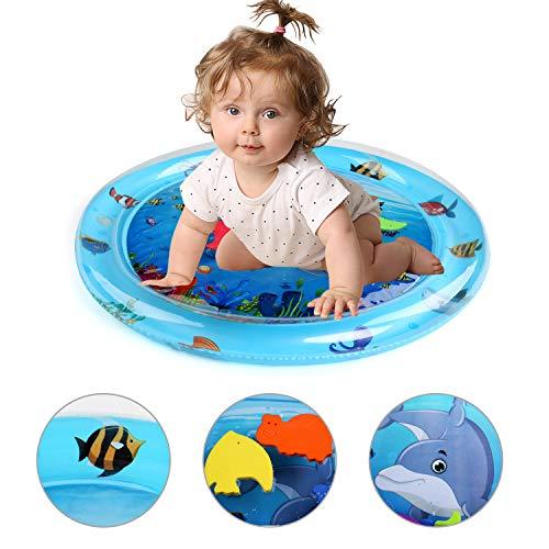 BelleStyle Wassermatte Aufblasbare, Baby Bauchzeit Aktivitätszentrum Aufblasbar Wasser Spielmatte Auslaufsicheres PVC Wasserkissen für Kinder und Kleinkinder, Stimulierend Baby Wachstum, Runde
