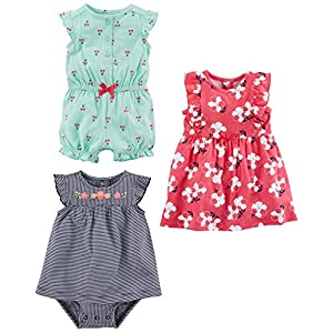 Simple Joys by Carter's Baby Girls paquete de 3 pelele, traje de sol y vestido 5