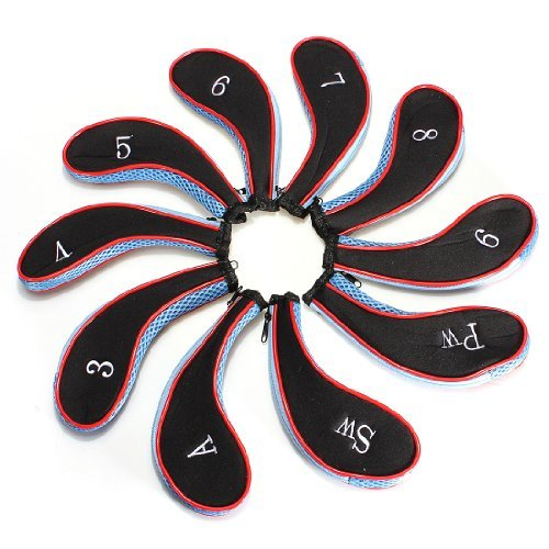 10pcs-sleeve-golf-club-iron-headcovers-head-cover-protect-case-long-blackblue