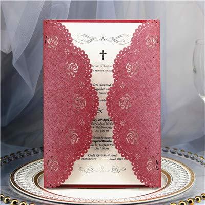 Dodom Burgund Karte Einladung zur Hochzeit Geburtstag Rose Laser Geschenkkarte personalisierte Druck 50pcs, Burgund, Drucken (Burgund Hochzeit Einladungen)