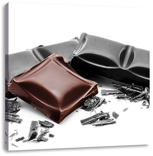 leckere Tafel Schokolade schwarz/weiß, Format: 60x60 auf Leinwand, XXL riesige Bilder fertig gerahmt mit Keilrahmen, Kunstdruck auf Wandbild mit Rahmen, günstiger als Gemälde oder Ölbild, kein Poster oder Plakat -