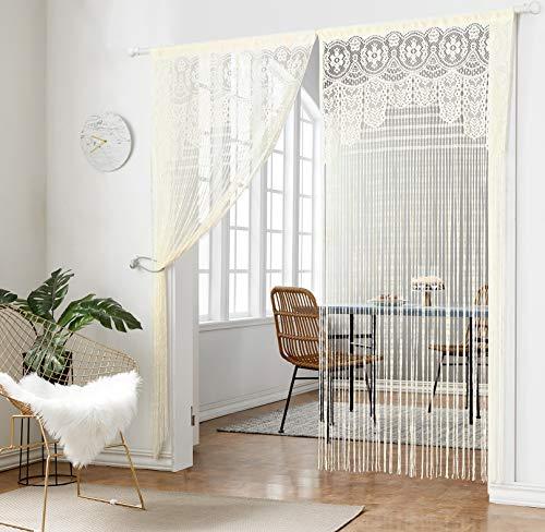 Taiyuhomes Classic Warp Stricken String Vorhang für Home Decor und Trennwand mit Ornament Nachahmung Acryl Perlen Design perfekt, wie Fliegengitter, Polyester, beige, W90xL220cm(35x87) -