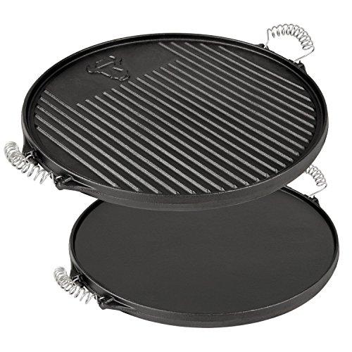 BBQ-Toro Gusseisen Wendegrillplatte Ø 43 cm, rund, bereits eingebrannt, sofort einsatzbereit