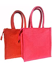 Jivisha Creations Combo Pack Of Red And Pink Lunch Bag