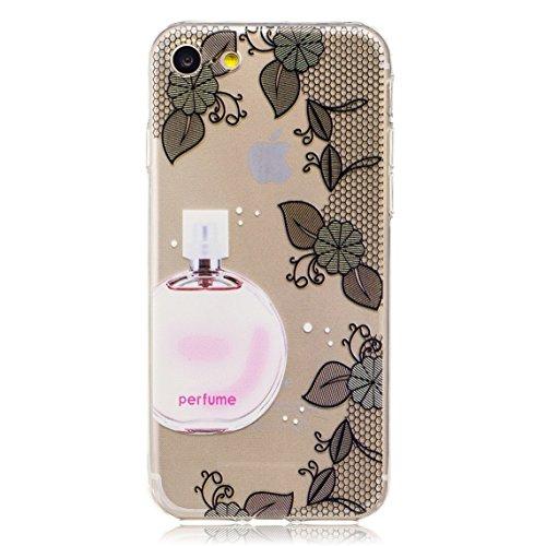 iPhone 7 Hülle, Voguecase Silikon Schutzhülle / Case / Cover / Hülle / TPU Gel Skin für Apple iPhone 7 4.7(Blumen und Gras/Lila) + Gratis Universal Eingabestift Parfüm Blumen/Schwarz