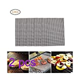 SayHia BBQ Grill Mesh Mat Set of 10 - Non Stick Barbecue Grill Sheet Liners Teflon Grilling Mats Nonstick Fish Vegetable Smoking Accessories - Works on Smoker,Pellet,Gas, Charcoal Grill,15.6x13inches