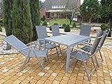 Mandalika Living 7-teilige Aluminium Textilen Polywood Gartenmöbelgruppe Hot, 6 Klappsessel Bolero und EIN Gartentisch Fire 150x90 mit Polywood-Platte, Silber