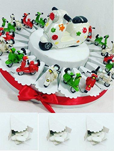 Bomboniere vespa scooter motocicletta italia ideali per cresima, comunione, battesimo (torta con confetti e vespette italia con centrale)