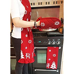 Ragged Rose Betty Frilly Red Christmas Apron
