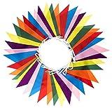 Qualità Premium Festone con Bandierine Riutilizzabile Decorazione per Feste da Interno ed Esterno - Prodotto Top Rated su Amazon UK (5* / 70 recensioni) - Impermeabile in Poliestere - Banner Colorato (14 m, 42 Bandiere)