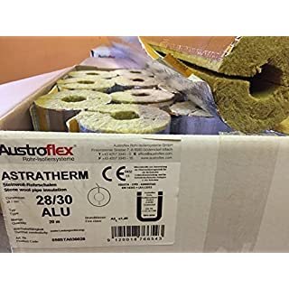 Austroflex Rohrisolierung 28 x 30mm voller Karton 20m Inhalt (2,59€/Meter) Rohrschalen alukaschiert Steinwolle Mineralfaserschale Isolierung