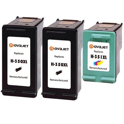 Novajet 3x Reemplazo Para HP 350 351 350XL 351XL Cartucho de tinta para HP Deskjet D4200 D4260 D4263 D4300 D4360 D4268 Officejet J5700 J5725 J5730 J6413 J6415 J6424 J6450 J6480 J6488 Photosmart C4200 C4205 C4210 C4240 C4250 C4270 C4580 C4583 (2 Negro + 1 Tri-Color)