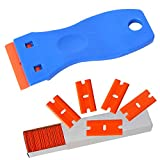 """Ehdis® 1.5"""" High Visibility Mini Razor Plastic Double Edged Blade Scraper with 100PCS Plastic Razor Scraper Blades for Scraping Labels and Decals from Glass, Windshields"""