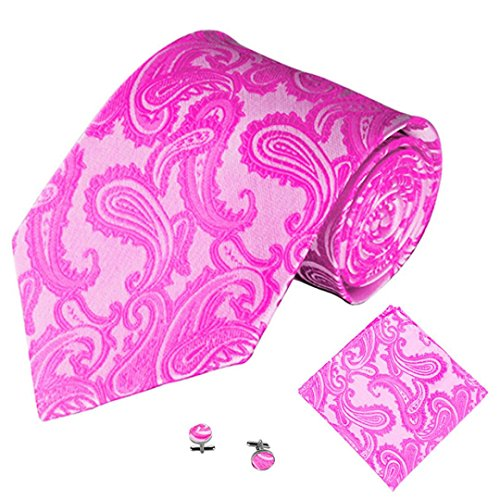 SOMESUN Gewebtem Jacquard Herren Krawatten Taschentuch Manschettenknopf 3PCS Paisley Cashew Taschen (pink)