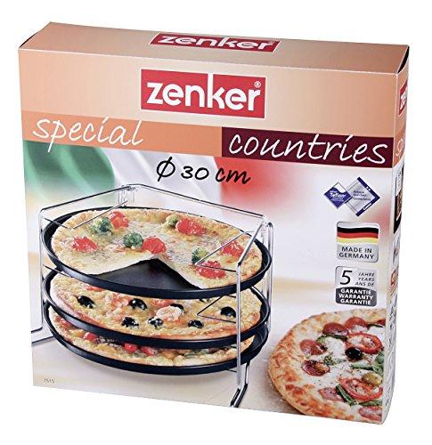 Zenker Pizzaset 3 Pizzableche mit Gestell - 4