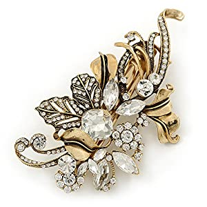 Vintage Inspired Gold Tone, Clear Cz Floral Barrette Hair Clip Grip – 105mm Across