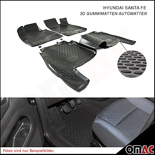 HYUNDAI SANTA FE 2006–2010Tappetini in gomma Polymer alta 3d Tappetini Auto