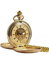 Reloj de bolsillo–Vintage doble Hunter manchda mecánico elegante grabado caso esqueleto Dial para hombres mujeres con cadena + caja de regalo