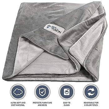 PetFusion Premium Petit chien ou couverture de chat (79x69 CM). Peluche micro réversible gris. [100% polyester doux]