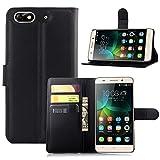Ycloud Tasche für Huawei G Play Mini (Honor 4C) Hülle, PU Ledertasche Flip Cover Wallet Case Handyhülle mit Stand Function Credit Card Slots Bookstyle Purse Design schwarz