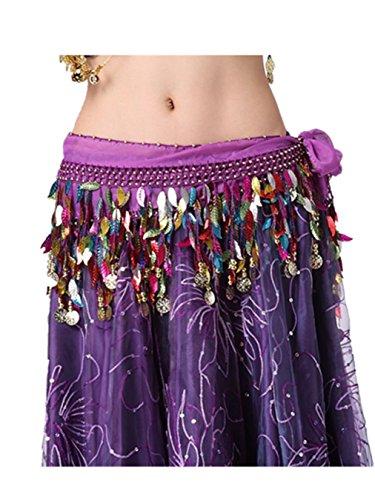 Bauchtanz Hüfttuch Rock Tanzen Zubehör Tribal 2 Reihen 88 Mehrfarbige Blätter Sequins Kostüm (Toga Kostüme Mit Blättern)