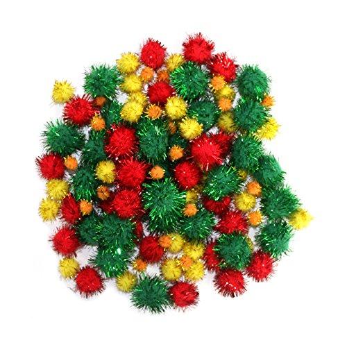 Robelli Red, Green, Yellow amp; Orange Christmas Tinsel Arts amp; Crafts Pom Poms