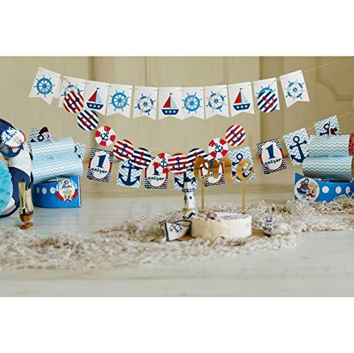 Cassisy 2,2x1,5m Vinyl Geburtstag Fotohintergrund Junge 1 Geburtstag EIN Banner Kuchen Segelboot Ruder Flaggen Fotoleinwand Hintergrund für Fotostudio Requisiten Party Baby Kinder Photo Booth