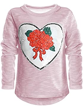 BEZLIT Kinder Mädchen Wende Pailletten Lang Shirt Bluse Langarm Sweat Shirt Mini 21051