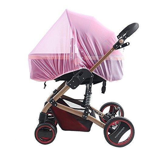 Kinderwagennetz, Universalmoskitonetz für Kinderwagen und Kinderwagen, Kinderwagen Insektennetz (Pink) - Reisebett Cover Mesh