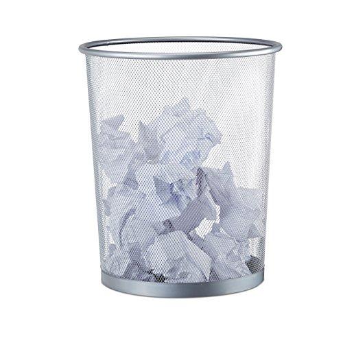 Relaxdays Papierkorb Metall, großer Papiereimer fürs Büro, Runder Mülleimer 20 Liter, Draht, 30 cm Ø, 35 cm hoch, silber