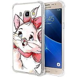"""Zhuofan Plus Coque Samsung Galaxy J5 2016, Silicone Transparente avec Motif Design Antichoc Coussin d'air Housse TPU Souple Airbag Shockproof Case Cover pour Samsung J5 2016 5,2"""", Chat Rouge"""