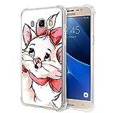 Zhuofan Plus Coque Samsung Galaxy J5 2016, Silicone Transparente avec Motif Design Antichoc Coussin d'air Housse TPU Souple Airbag Shockproof Case Cover pour Samsung J5 2016 5,2', Chat Rouge
