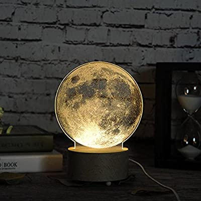 5W Creative 3D Moon Bedside Desk Lamp Dressing Table Lamp Children Bedroom Night Light for Living Room Study Bedroom Children's Room - inexpensive UK light store.