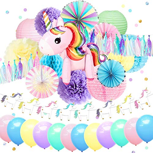 Nicrolandee Einhorn Party Supplies niedliches Einhorn Luftballon Folienrand Regenbogen Papier-Fans Pink Laterne Seidenpapier Blumen Poms Jelly Glitter Banner für Geburtstag Mädchen Einhorn Geschenk (Blush Pink Papier-blumen)