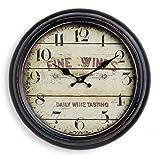 Wanduhr aus Metall 37cm - Motiv: France / Frankreich Chateau - Wein fine wines - Uhr Nostalgie Landhaus - Stil