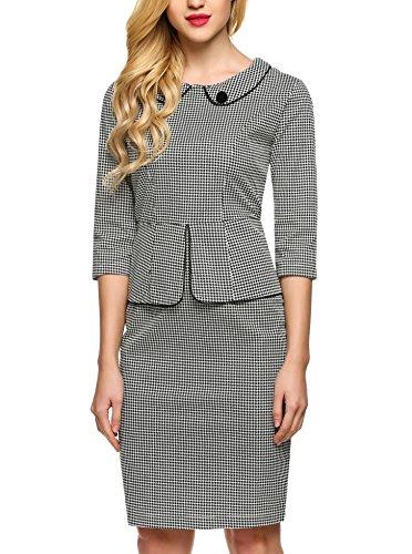ANGVNS Damen 1950er Jahre Cocktailkleid 3/4 Arm Hahnentritt Muster Knielang Business Stretch Kleid (Kostüme Kleid 1950er Jahre)